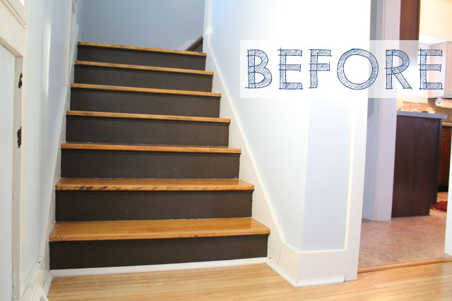 Painted basement stairs - Published 03 24 2014 At 640 215 427 In Before Amp After Boring Brown