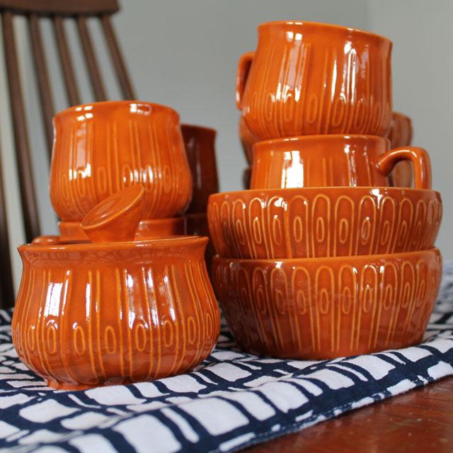 Set of amateur ceramic dishes