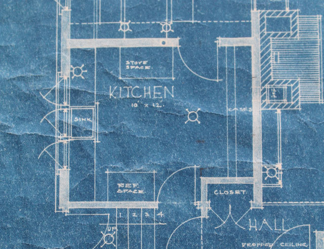 American System Built home blueprint - kitchen floor plan