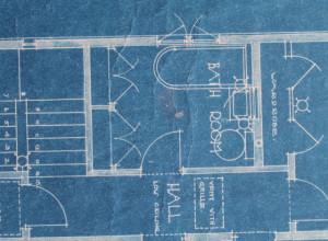 Bathroom floorplan on an American System Built home blueprint