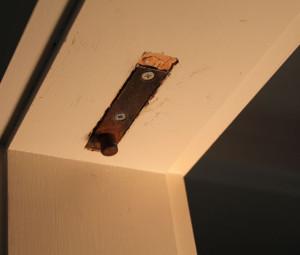 the door hardware installed in the door frame