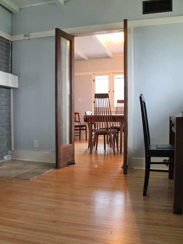 open dining room doors in the Delbert W. Meier house