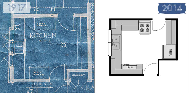 American System Built house kitchen floor plan