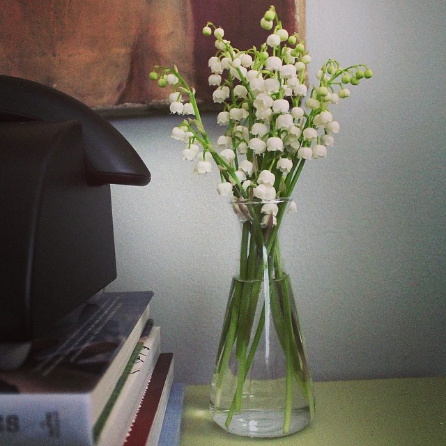 Lily of the Valley flowers in a bud vase make for a wonderful bedside treat
