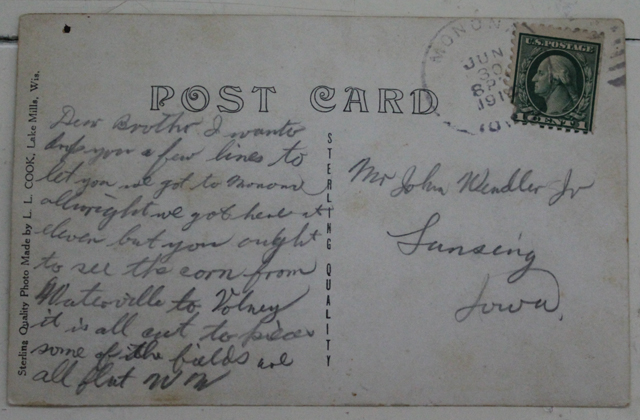 A 1914 postcard sent from Monona, Iowa to Lansing, Iowa