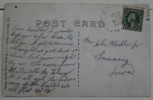 A 1914 postcard sent from Monona, Iowa to Lansing, Iowa