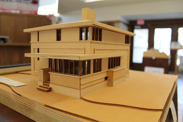 Scale model of the Delbert Meier House at the Architectural Interpretive Center in Mason City, Iowa