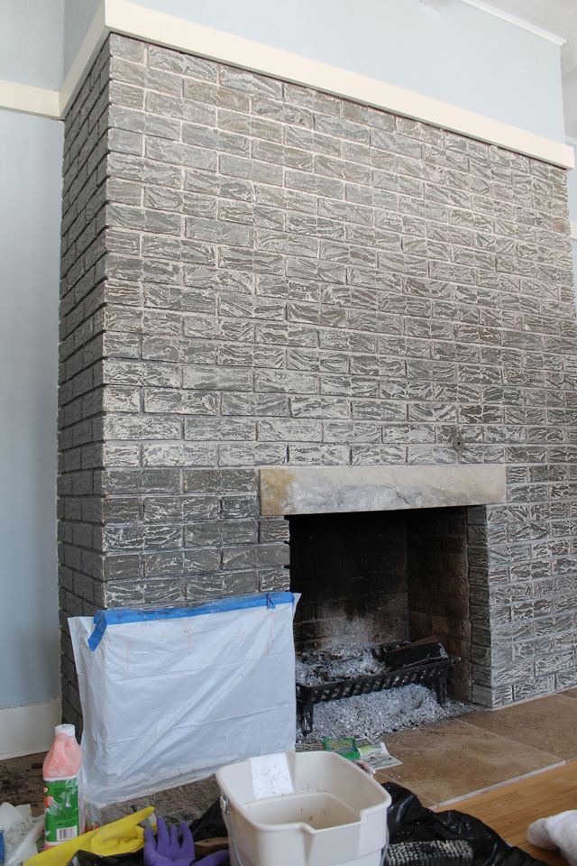 Refinishing the Fireplace Brick in Our American System Built Home