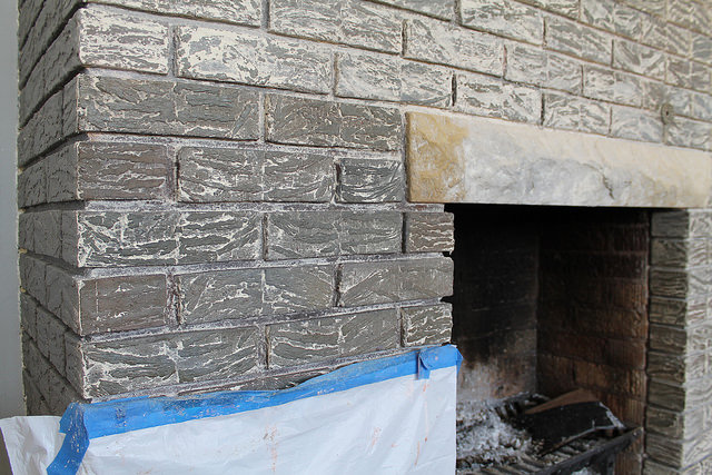 Adventures in Stripping: Refinishing the Fireplace in Our American System Built Home