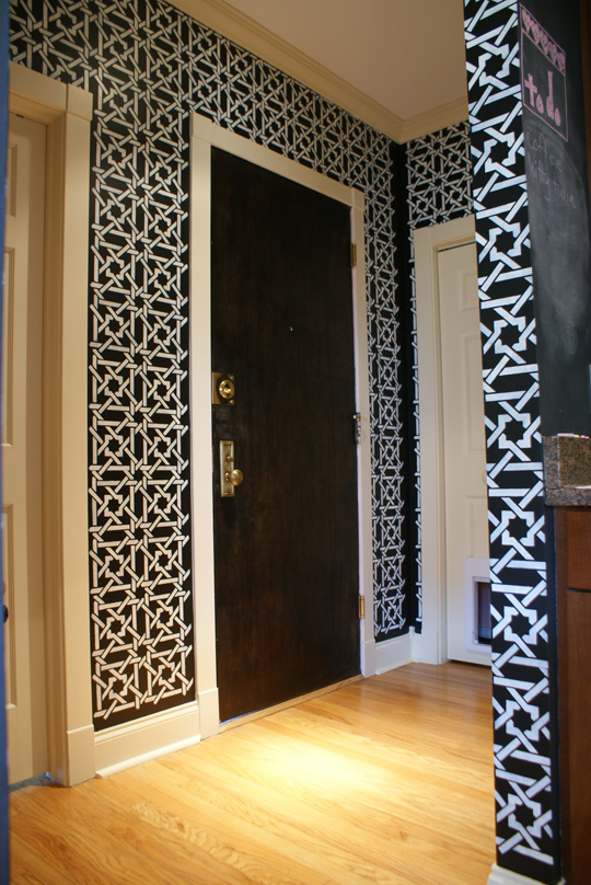 Black and White Stenciled Entryway
