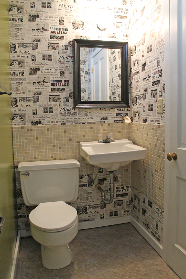 Dated Basement Bathroom with Kitschy Wallpaper | This American House