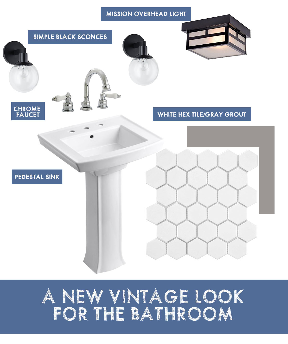 Vintage Style Bathroom on This American House - white pedestal sink, hex tile flooring and more