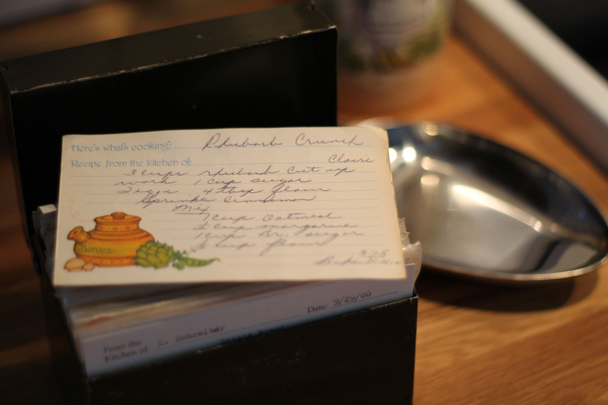 My Mother-in-Law's Recipe Box and Rhubarb Crunch Recipe